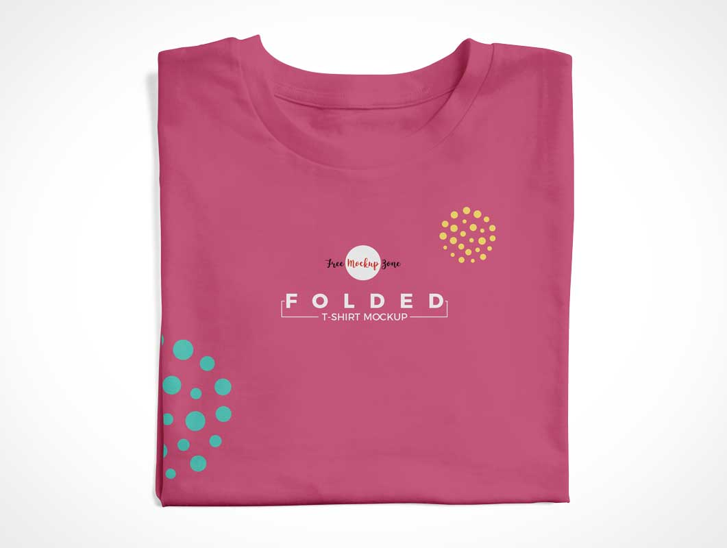 Woman's Round Neck Folded T-Shirt Front PSD Mockup