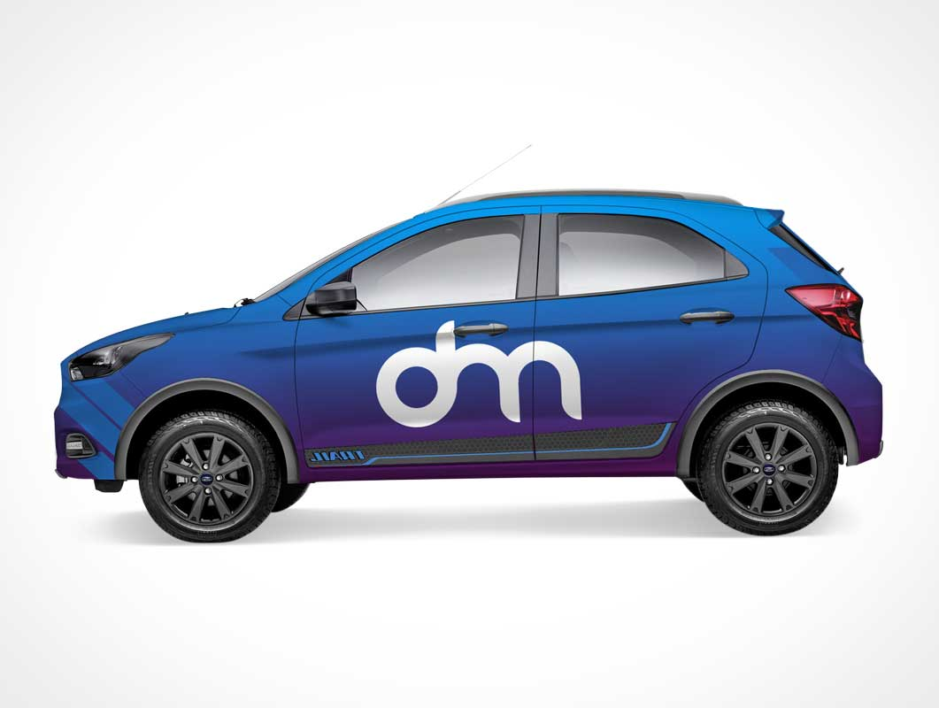 4-Door Hatchback Sports Car Left Side PSD Mockup