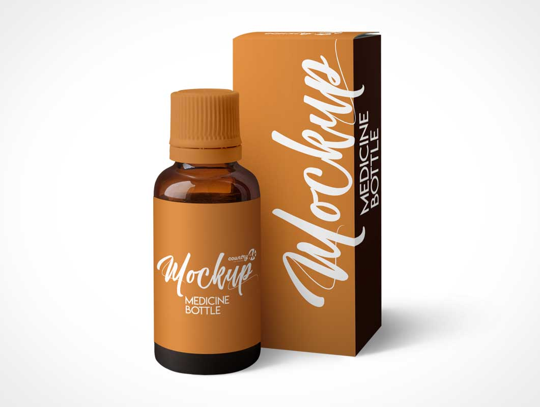 Amber Glass Medicine Bottle & Box Packaging PSD Mockup
