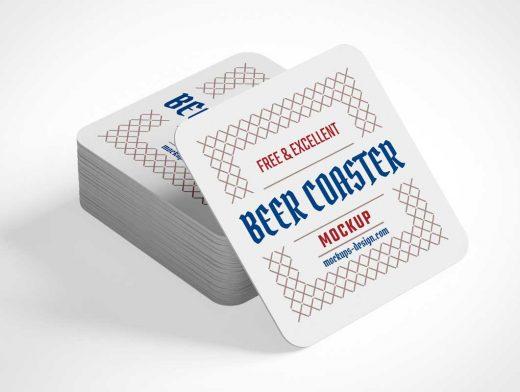 Beer Drink Coaster Surface Protector PSD Mockup