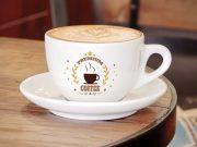 Café au lait Ceramic Cup & Saucer PSD Mockup