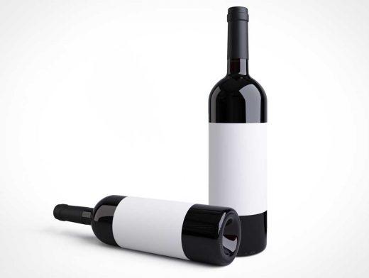 Dark Wine Glass Bottle & Punt PSD Mockup