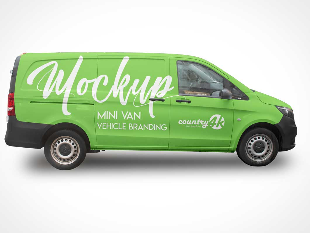 Mini Van Delivery Transport PSD Mockup