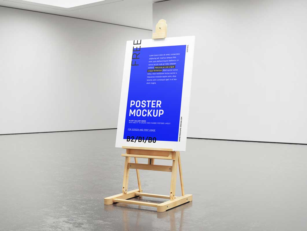 Painter's Easel In Empty Exhibition Gallery PSD Mockup