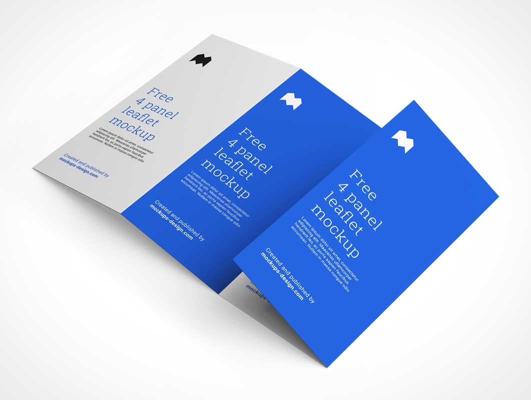 Quad-Fold 4 Panel Advertising Brochure PSD Mockup