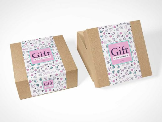Recycled Material Giftbox Packaging PSD Mockup