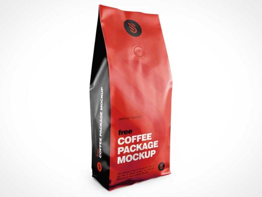 Sealed Foil Ground Coffee Bag & Heat Sealing Valve PSD Mockup