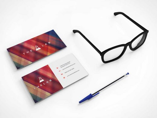 Stationery Business Cards & Reading Eyeglasses PSD Mockup