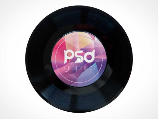 Black Vinyl Music Record PSD Mockup