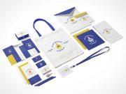 Business Stationery Brochure, Event Pass, Envelopes & Bag PSD Mockup