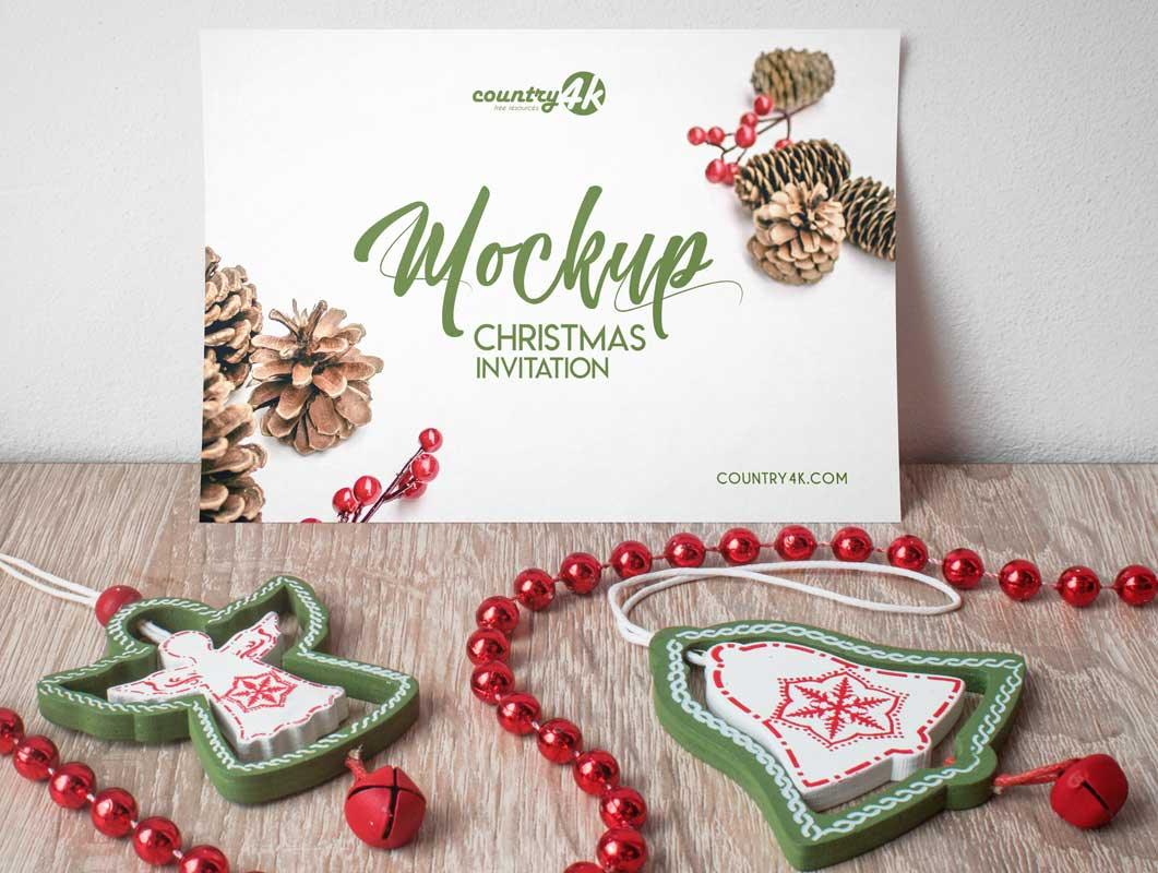 Christmas Party Invitation Card PSD Mockup