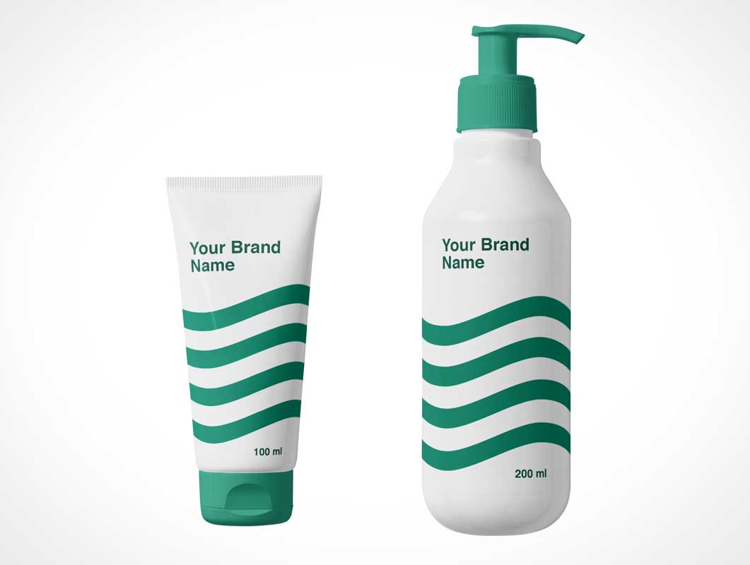 Cosmetics Cream Tube & Lotion Pump Bottle PSD Mockup