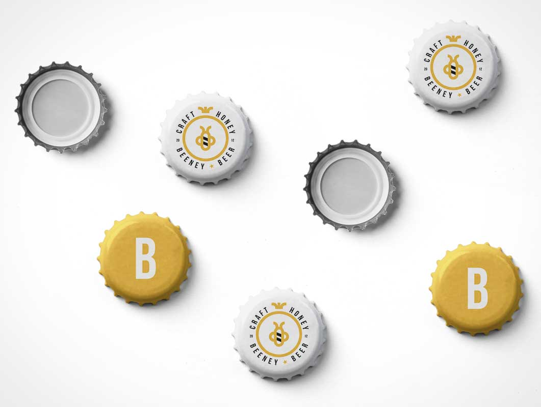 Craft Beer Bottle Twist Caps PSD Mockup PSD Mockup