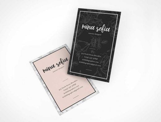Floating Business Card Front & Back Branding PSD Mockup
