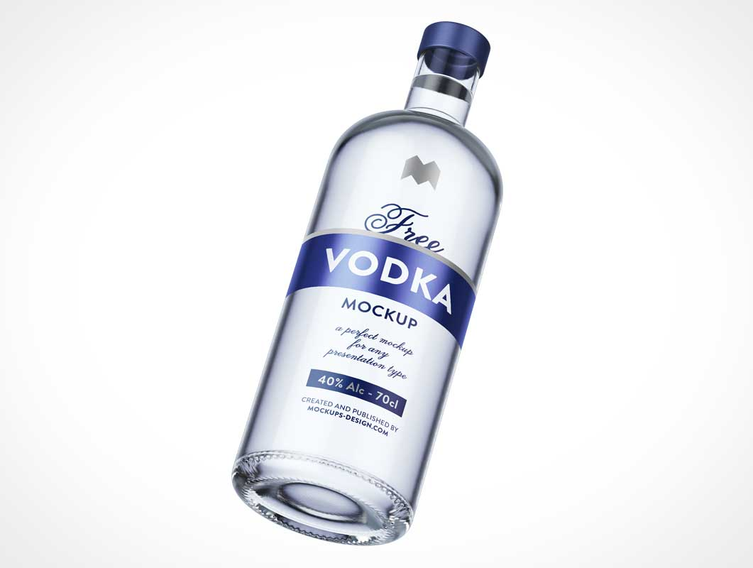 Glass Vodka Bottle & Punt PSD Mockup
