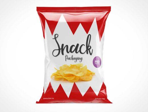 Glossy Foil Chip Bag Front PSD Mockup