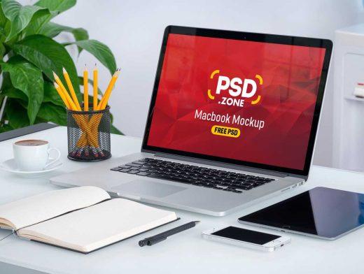 MacBook Laptop Workspace PSD Mockup