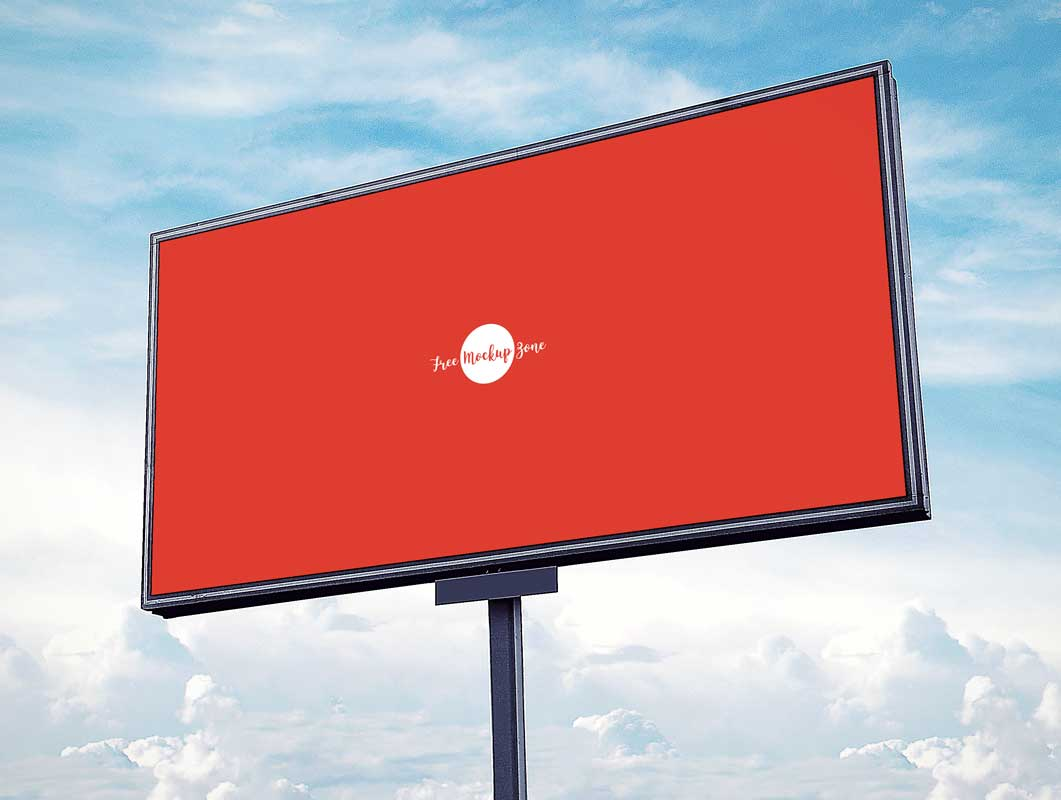 Outdoor Advertising Landscape Billboard PSD Mockup