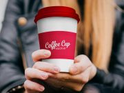 Paper Coffee Cup in Hand PSD Mockup
