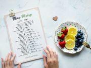 Restaurant Menu & Sample Fruit Plate PSD Mockup