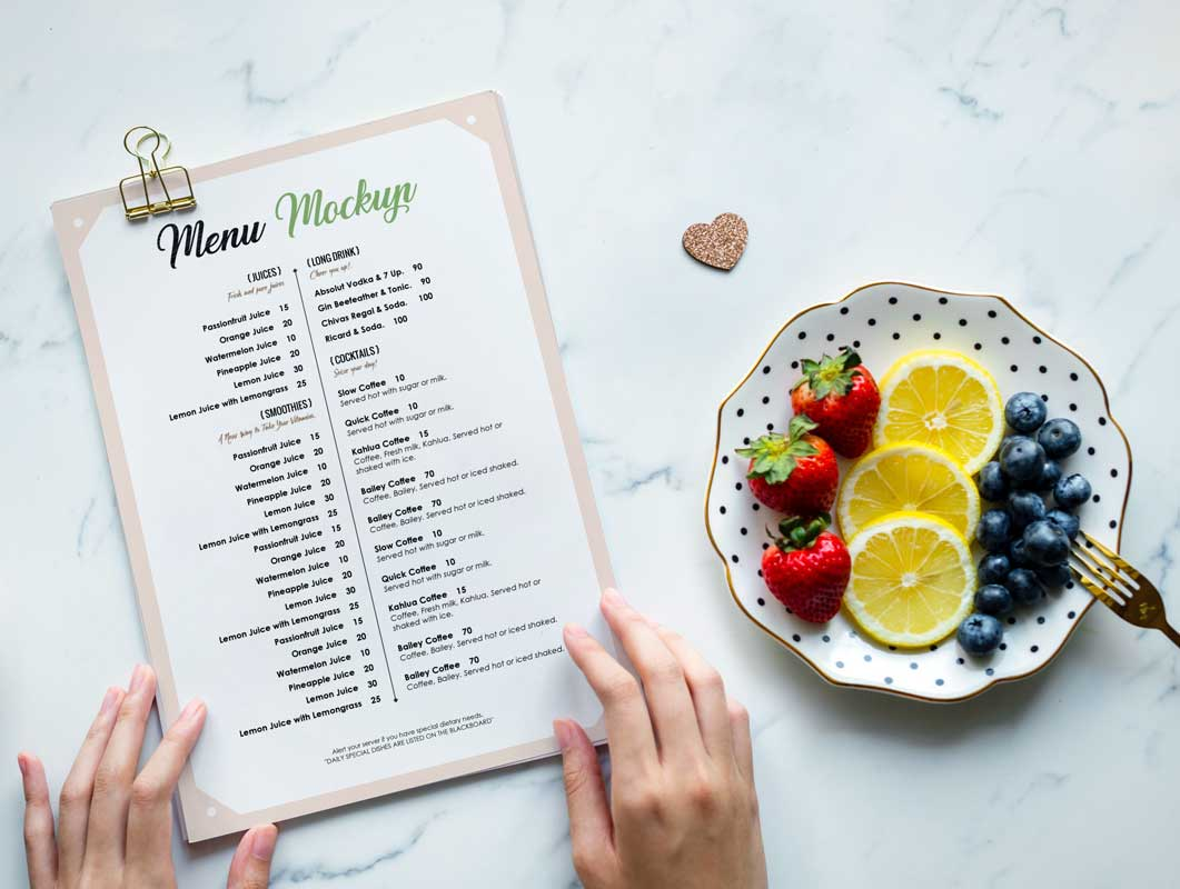 Restaurant Menu & Sample Fruit Plate PSD Mockup