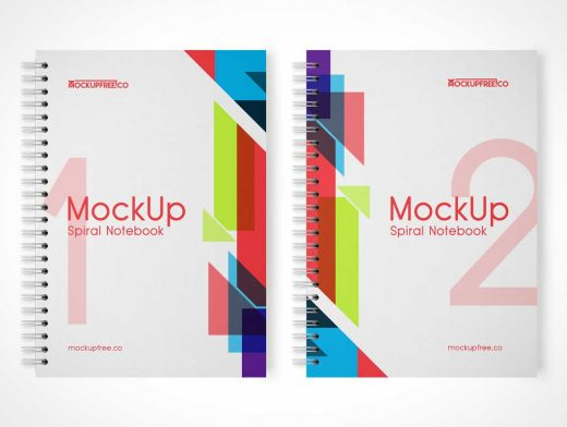 Spiral Wire Notebook & Cover PSD Mockup
