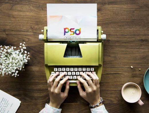 Vintage Qwerty Typewriter & Letterhead PSD Mockup