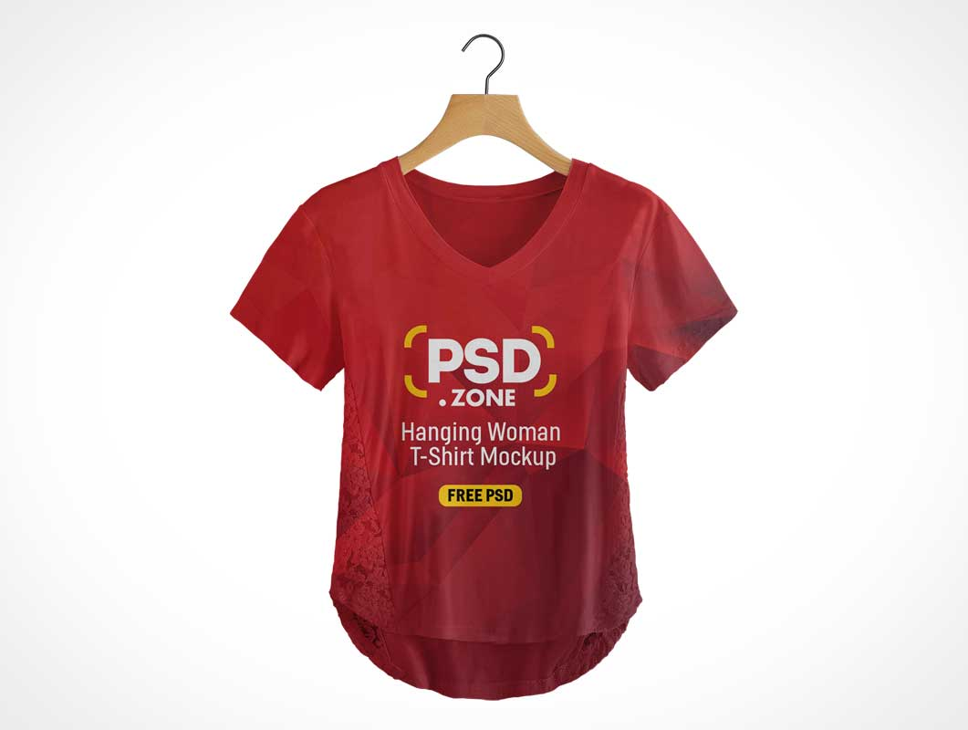 Woman's V-Neck Cotton T-Shirt & Hanger PSD Mockup