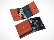 2 Panel Square Bi-Fold Brochure Front & Back PSD Mockup