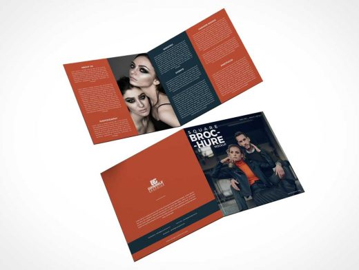 2 Panel Square Bi-Fold Brochure Front & Back PSD Mockup