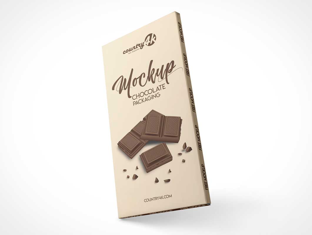 Chocolate Bar Wrapper Packaging PSD Mockup