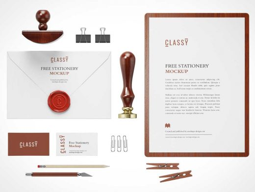 Corporate Stationery Letterhead, Stamp, Business Cards & Envelope PSD Mockup