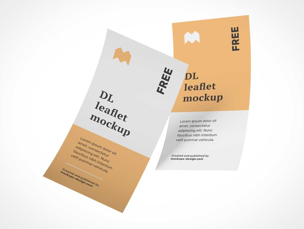 DL 1 Panel Flyer Leaflet Front & Back PSD Mockup