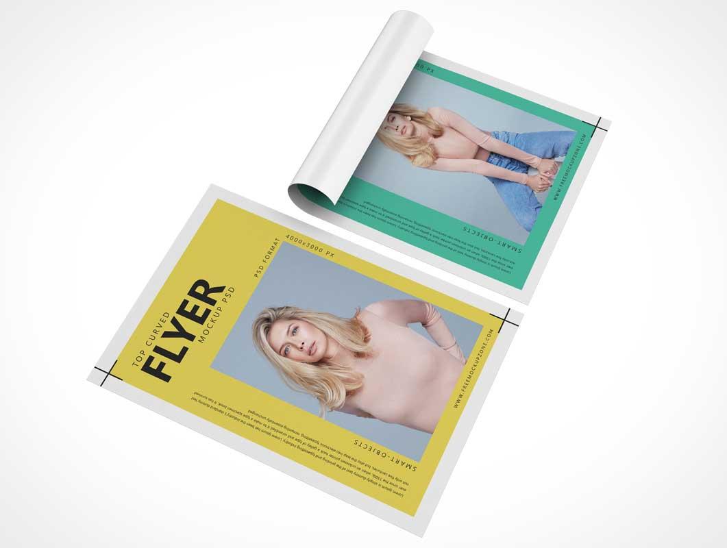Flyer Leaflet Pages, Front & Back Panels PSD Mockup
