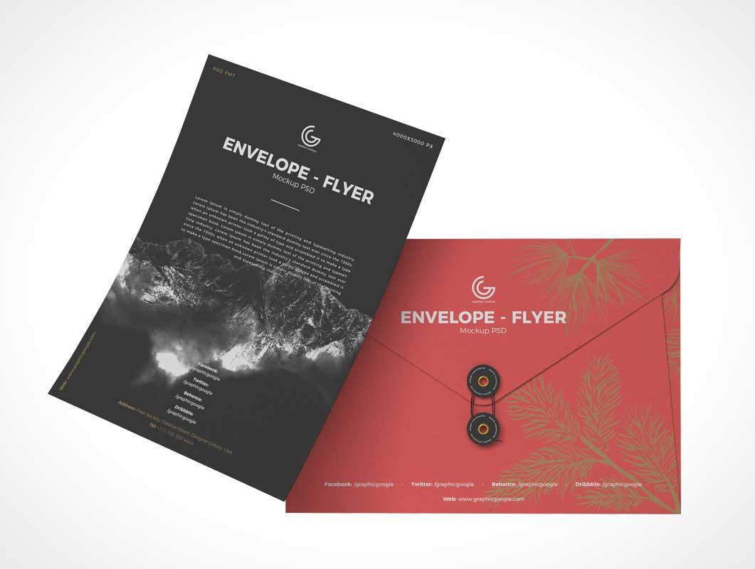Flyer Panel & Sealed Envelope PSD Mockup
