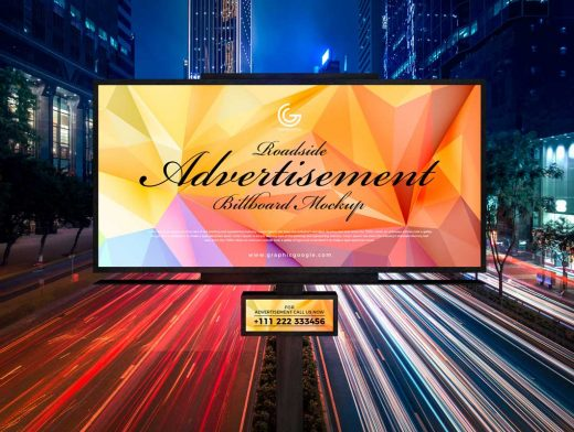 Landscape Highway Billboard Advertising PSD Mockup