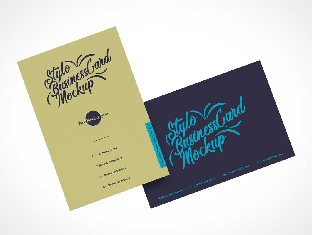 Long & Wide Business Cards PSD Mockup