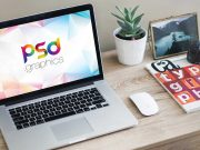 MacBook Pro Laptop Workspace & Magic Mouse PSD Mockup