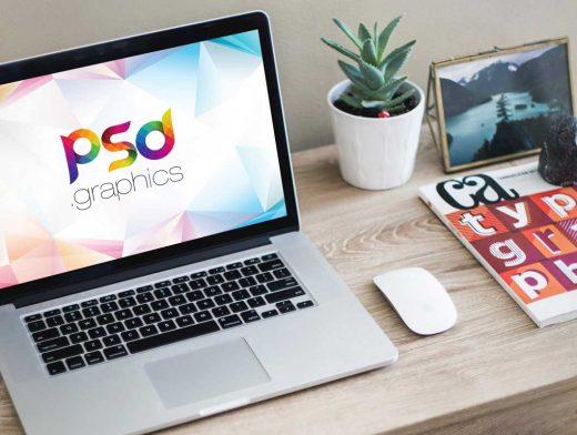 MacBook Pro Laptop Workspace & Magic Mouse PSD Mockup