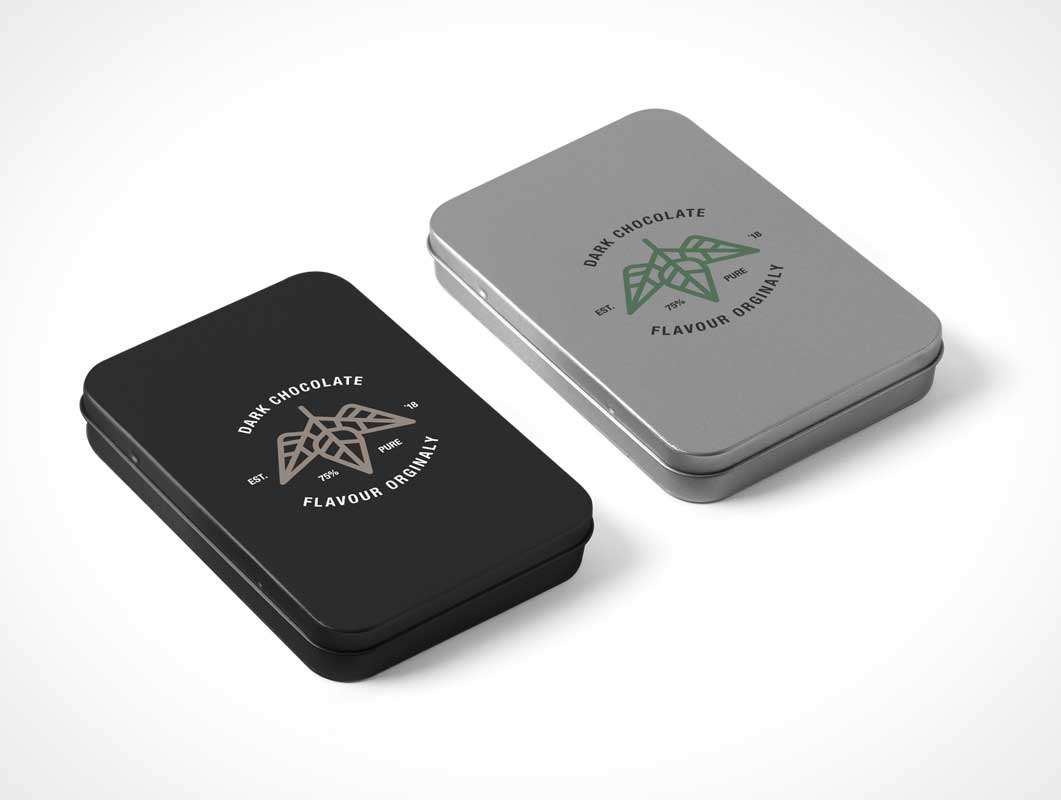 Metal Tin Box Packaging PSD Mockups