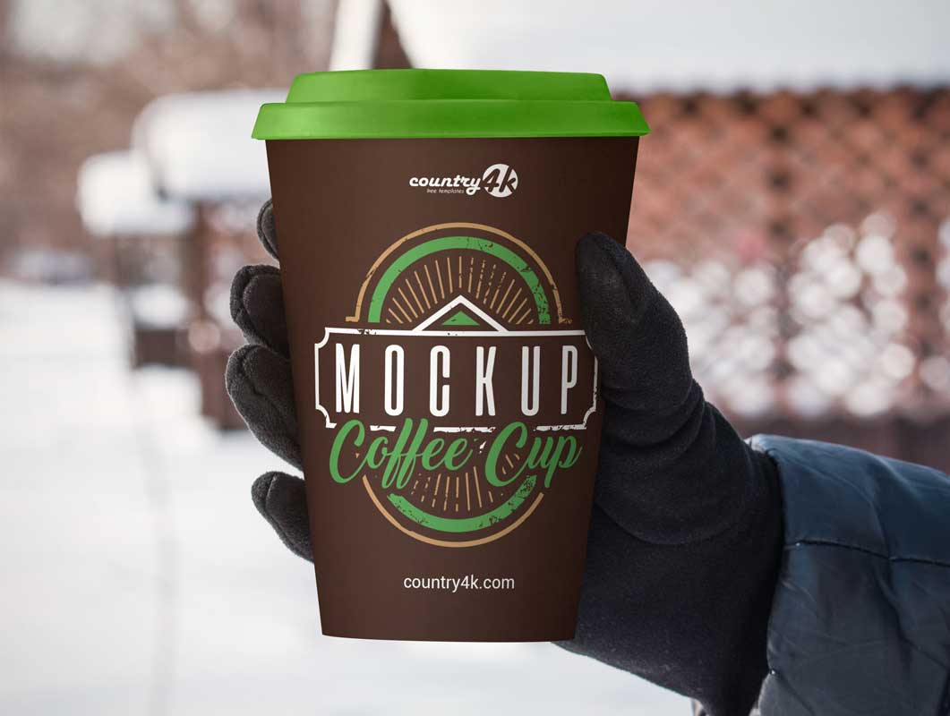 Outdoor Coffee Cup Advertising PSD Mockup