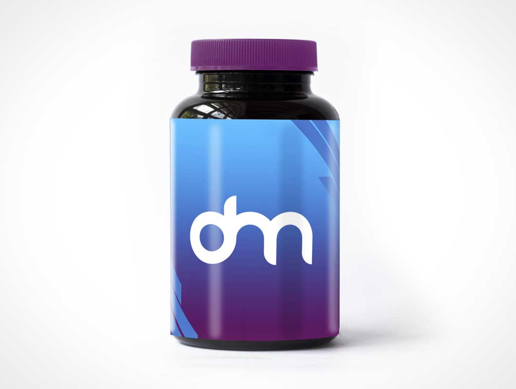 PET Dark Plastic Packer Pill Bottle PSD Mockup