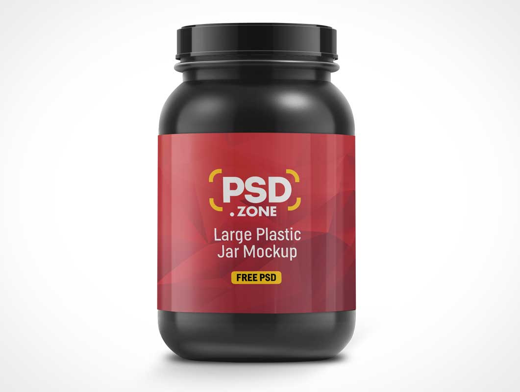 PET Dark Plastic Whey Protein Container PSD Mockup