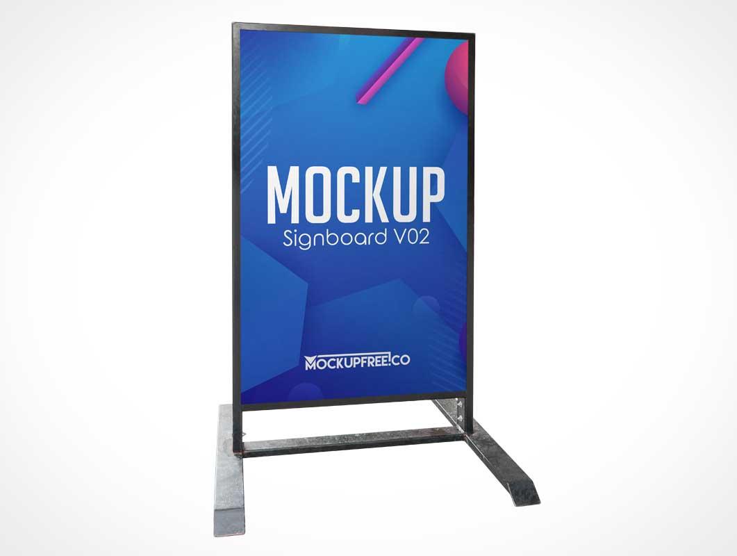 Portrait Sidewalk Signboard & Metal Frame PSD Mockup