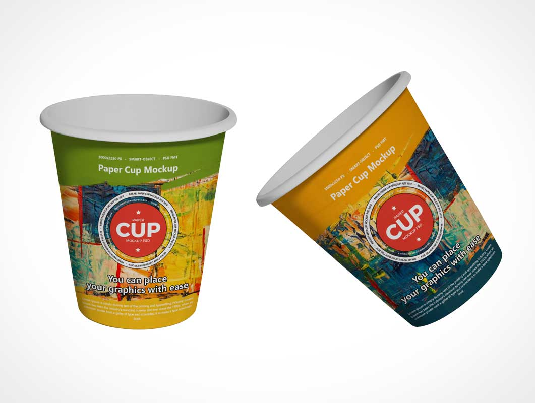Rolled Rim Paper Cups PSD Mockup