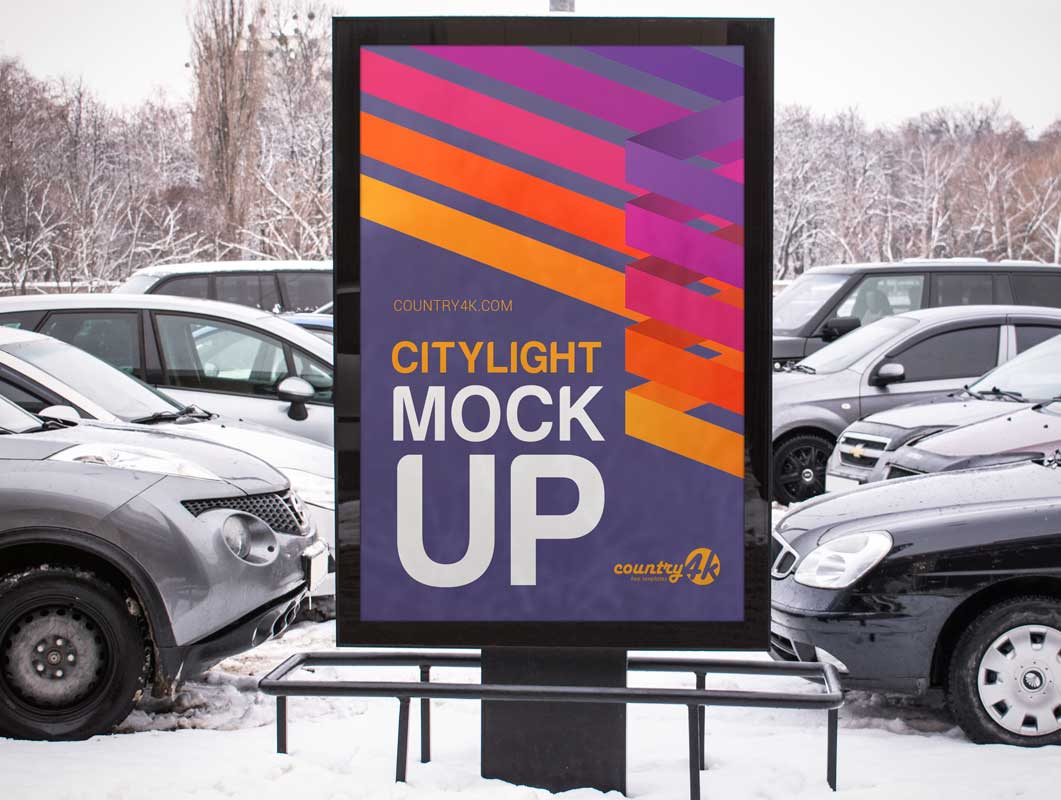 Shopping Mall Parking Lot Billboard Poster PSD Mockup