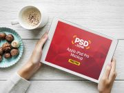 Woman Reading iPad Pro & Coffee Cup PSD Mockup
