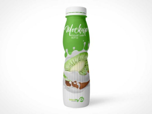 Yogurt Bottle Perforated Twist Cap PSD Mockup