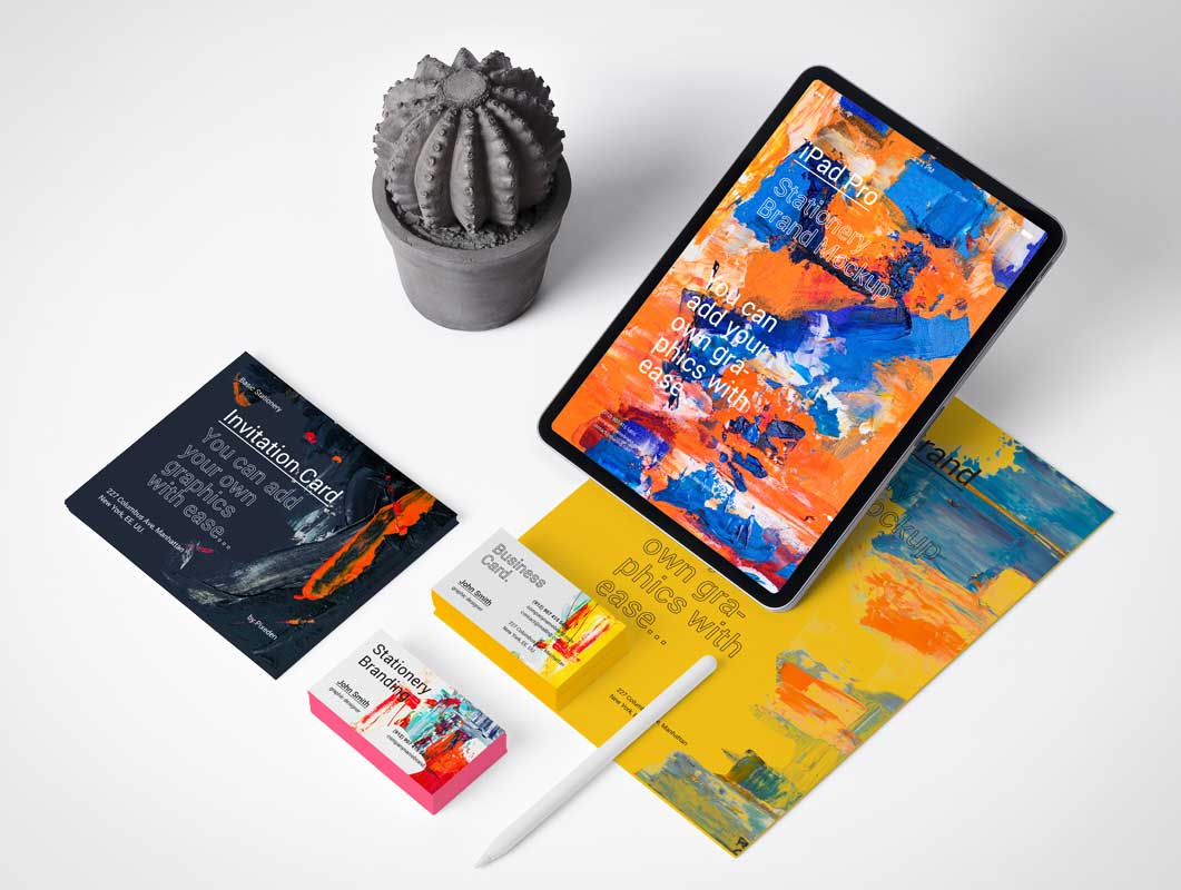 iPad Pro, Business Cards & Stationery Letterhead PSD Mockup