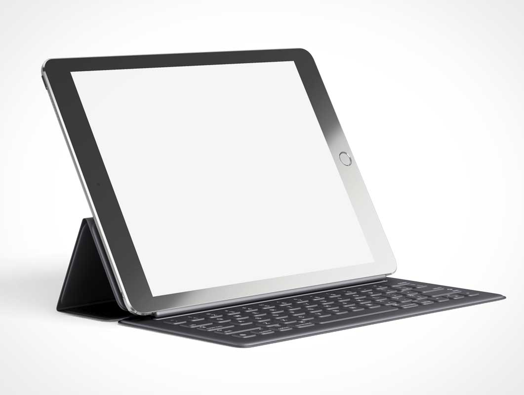 iPad Pro & Smart Keyboard Folio Cover PSD Mockup
